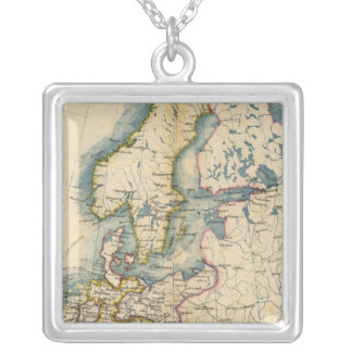 Commerciale Industrial Map of Europe Square Pendant Necklace