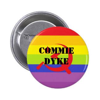 Commie dyke pinback button