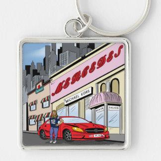 Commission  Comic Design Silver-Colored Square Keychain