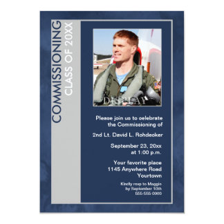 "Commissioning Class of Photo Invitation (Blue) 5"" X 7"" Invitation Card"