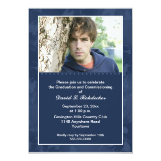 Commissioning Graduation Party Photo  (Blue) Custom Invitation