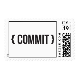 Commit - Bracketed - Black and White Postage Stamp
