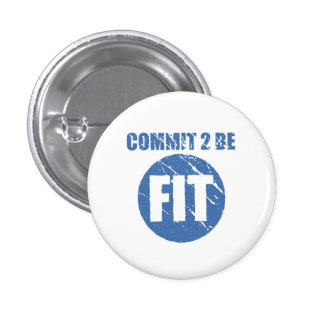 Commit to be Fit   Retro Style   CERULEAN Pin