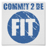 Commit to be Fit | Retro Style | CERULEAN Poster