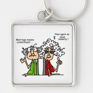 Commitment - Insanity Silver-Colored Square Keychain