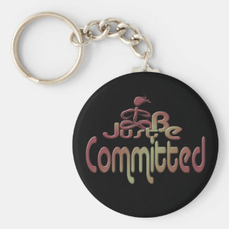 Committed Basic Round Button Keychain