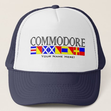 Commodore Title in Nautical Signal Flags Your Name Trucker Hat