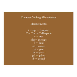 Common Cooking Abbreviations Postcard