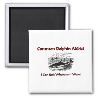 Common Dolphin Addict 2 Inch Square Magnet