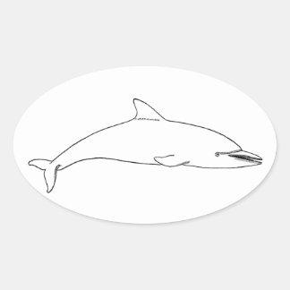 Common Dolphin (long-beaked) Oval Sticker