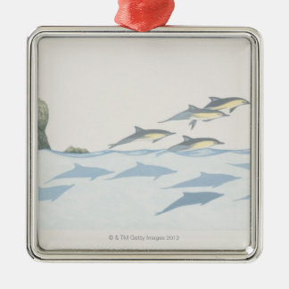 Common Dolphins Metal Ornament