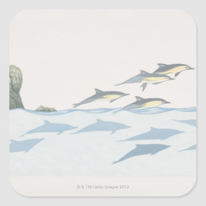 Common Dolphins Square Sticker