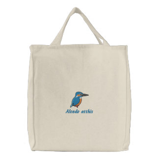 Common Kingfisher Embroidery Embroidered Tote Bag