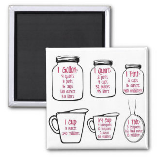 Common kitchen measurements magnet