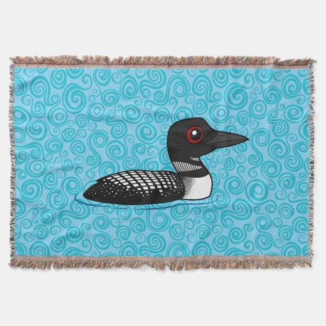 Cute Common Loon Breeding Adult Throw Blanket Amazing Loon Throw Blanket