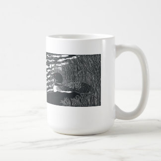 Common Loon Linocut Mug