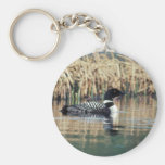 Common Loon on Water Basic Round Button Keychain