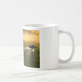 Common Loon Pair with Chicks Classic White Coffee Mug