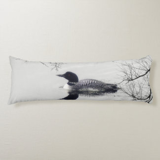 Common Loon Swims in a Northern Lake in Winter Body Pillow