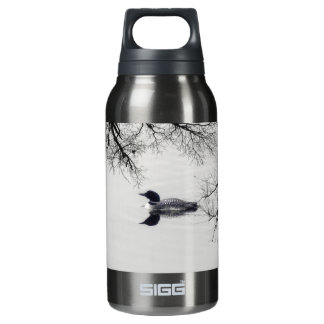 Common Loon Swims in a Northern Lake in Winter Insulated Water Bottle