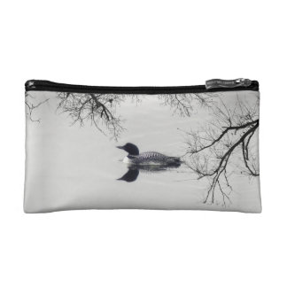 Common Loon Swims in a Northern Lake in Winter Makeup Bag