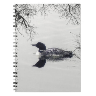 Common Loon Swims in a Northern Lake in Winter Notebook