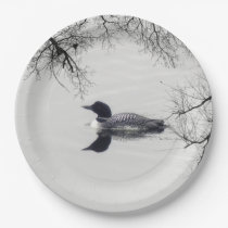 Common Loon Swims in a Northern Lake in Winter Paper Plate