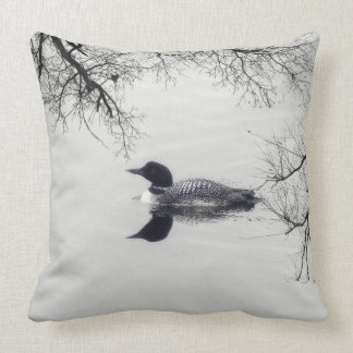 Common Loon Swims in a Northern Lake in Winter Pillows