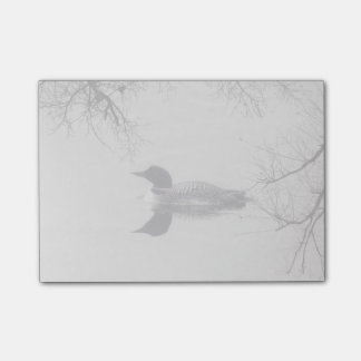 Common Loon Swims in a Northern Lake in Winter Post-it Notes