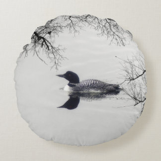 Common Loon Swims in a Northern Lake in Winter Round Pillow
