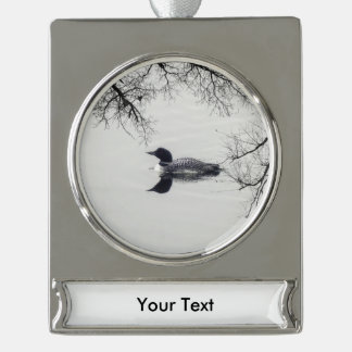 Common Loon Swims in a Northern Lake in Winter Silver Plated Banner Ornament