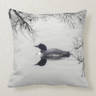 Common Loon Swims in a Northern Lake in Winter Throw Pillow