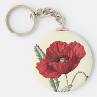 """Common Poppy"" Botanical Illustration Keychain"