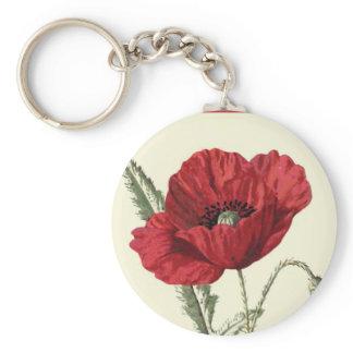 """Common Poppy"" Botanical Illustration Basic Round Button Keychain"