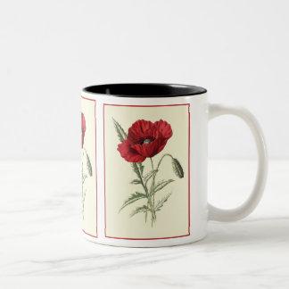 """""""Common Poppy"""" Botanical Illustration Two-Tone Coffee Mug"""