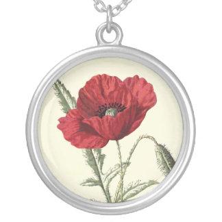"""""""Common Poppy"""" Botanical Illustration Round Pendant Necklace"""