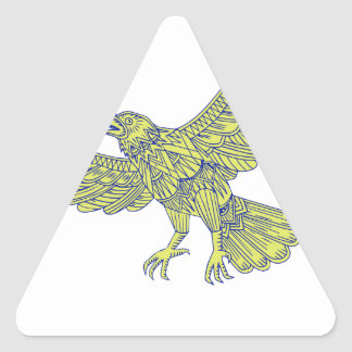 Common Raven Flying Mandala Triangle Sticker