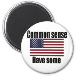 Common Sense American Flag 2 Inch Round Magnet