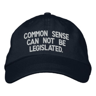Common sense can not be legislated. embroidered baseball cap