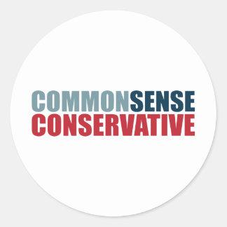Common Sense Conservative Classic Round Sticker