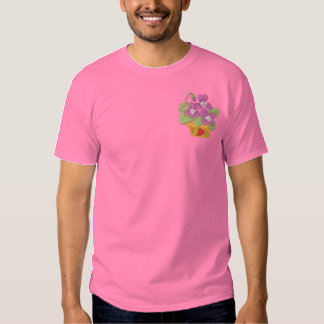 Common Violets In Pot Embroidered T-Shirt