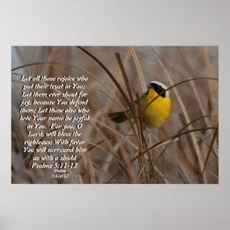 Common Yellowthroat Bird Psalm 5:11&12 Print
