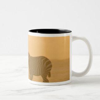 Common Zebra, Equus burchelli, and Elephant, Two-Tone Coffee Mug