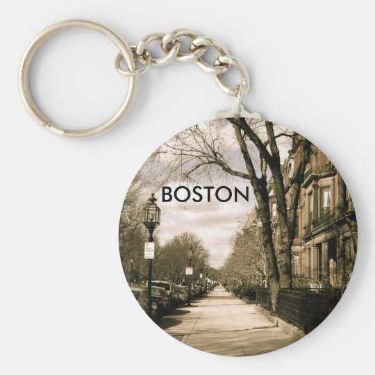 Commonwealth Avenue Neighborhood (sepia) Keychain