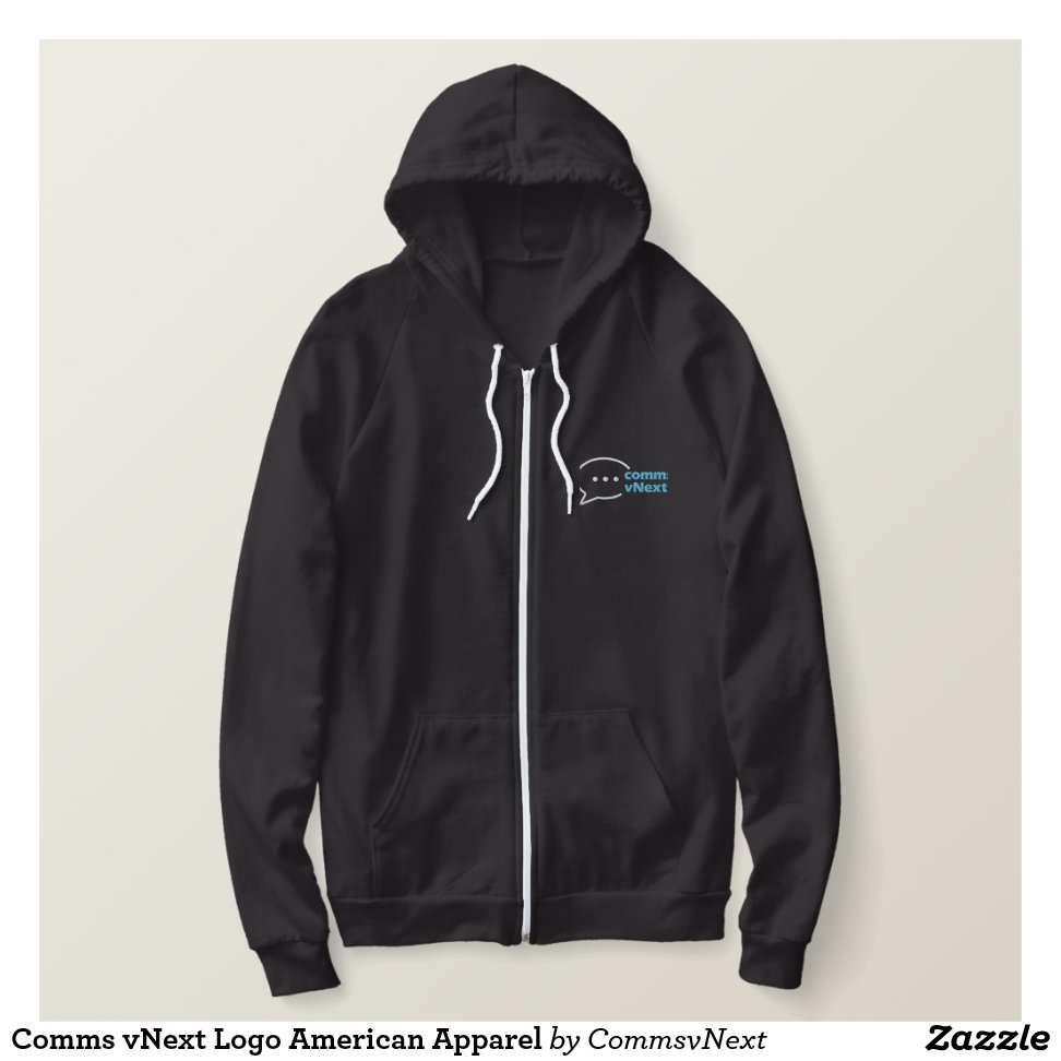 Comms vNext Logo American Apparel Embroidered Hoodie - Creative Long-Sleeve Fashion Shirt Designs
