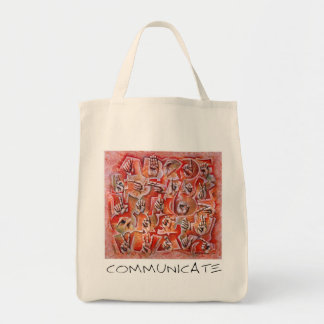 Communicate Grocery Tote Bag