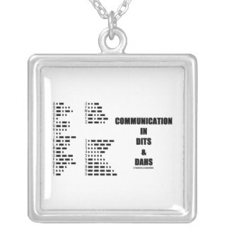 Communication In Dits And Dahs (Morse Code) Square Pendant Necklace