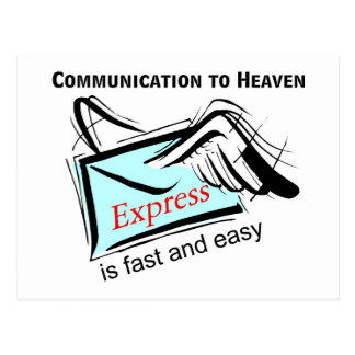 Communication to heaven is fast and easy postcard