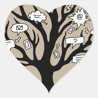 Communication Tree Drawing Heart Sticker
