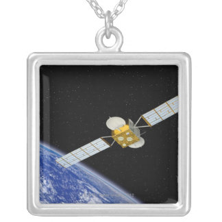 Communications Satellite Square Pendant Necklace